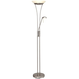 Balthasar 18W LED Deckenfluter mit 1600 Lumen, inkl. 4,5W LED Lesearm mit 380 Lumen, 3000K warmweiß, Dimmer, Metall / Glas weiß - 1