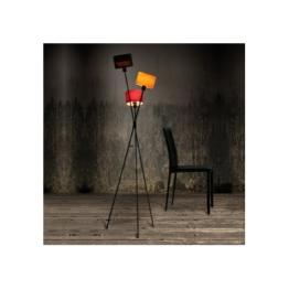 CAGÜ - DESIGN RETRO LOUNGE STEHLAMPE STEHLEUCHTE [IRIS] SCHWARZ-BUNT 150cm HÖHE - 1